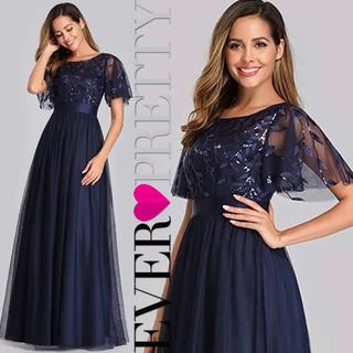 エレガント♡キラキラ スパンコール 刺繍 半袖 チュール ロングドレス ネイビー(ロングドレス)
