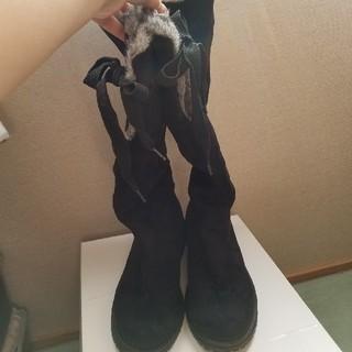 フェイクファー付ブーツ(黒×グレー)(ブーツ)