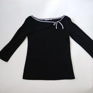 ナイスクラップ(NICE CLAUP)のナイスクラップ 七分袖カットソー 黒トップス(カットソー(長袖/七分))