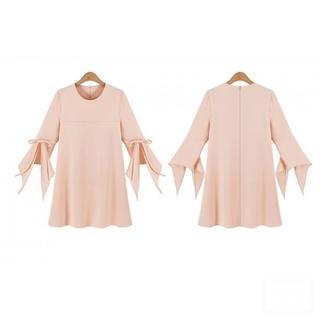 【ラス1 5XL】大きいサイズ 袖リボンAラインシフォンワンピース(Tシャツ(半袖/袖なし))