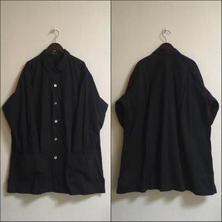 Yohji Yamamoto - ワイズフォーメン ビッグシルエットコットンパチポケットロングシャツ 黒 ブラック