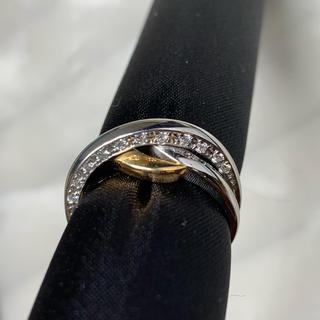 JEUNET Pt900 YG750 ダイヤモンド 二重 リング(リング(指輪))