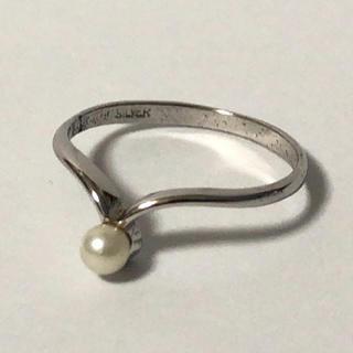 1348 シルバーリング  パール シンプルデザイン 10号(リング(指輪))