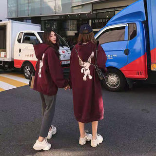 LAUA112秋冬ペアルック カップル 裏起毛 パーカー ワンピース(S-XL)(ロングワンピース/マキシワンピース)