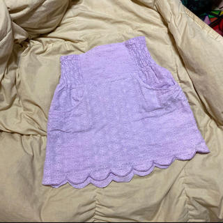 ハニーミーハニー(Honey mi Honey)のピンクパープル綿スカラップスカート(ミニスカート)