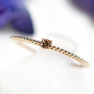 お値下げ! K18PG ブラウンダイヤモンド シンプル リング(リング(指輪))
