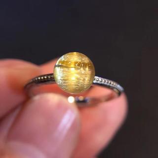 【天然】ゴールドタイチンルチルクォーツ リング s925 (リング(指輪))
