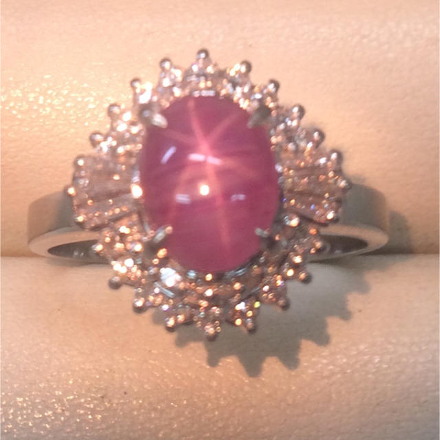 ★大きめの20号★Pt900スターサファイア&ダイヤモンドリング★S2.40ct レディースのアクセサリー(リング(指輪))の商品写真