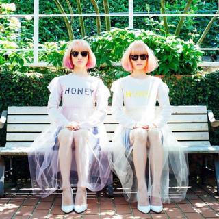 ハニーミーハニー(Honey mi Honey)のHONEY MI HONEY tulle skirt logo longT(ひざ丈ワンピース)