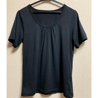 トップス 黒 襟フリル付(カットソー(半袖/袖なし))