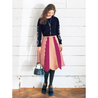 チェスティ(Chesty)のchesty チェスティ Pearl Scallop Skirt ピンク(ひざ丈スカート)
