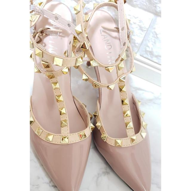 ロック  スタッズ エナメル パンプス  ピンク 23.5cm レディースの靴/シューズ(ハイヒール/パンプス)の商品写真