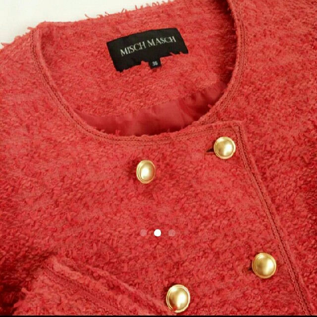 MISCH MASCH(ミッシュマッシュ)のMISCH MASCH ツイードジャケット 赤 レディースのジャケット/アウター(その他)の商品写真