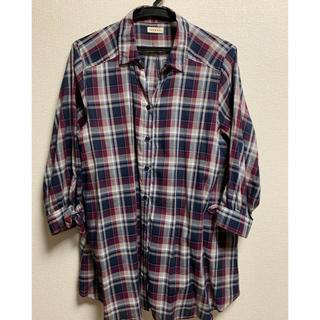 ブラウス LL  紺/赤  袖口リボン(シャツ/ブラウス(長袖/七分))