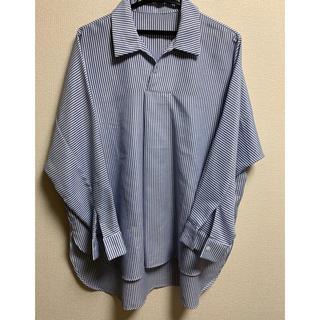 ブラウス XL 長袖 ストライプ  ブルー/白(シャツ/ブラウス(長袖/七分))