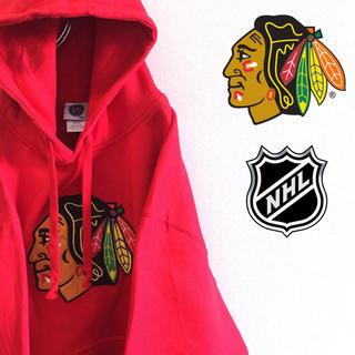 古着 美品 NHL シカゴ・ブラックホークス プルオーバー スウェット パーカー