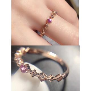 ❤️送料込☆新品繊細トルマリンファッションK10ピンクゴールドリング(リング(指輪))