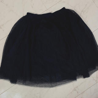 サルース(salus)のネイビー チュールスカート(ひざ丈スカート)