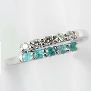K18WGパライバトルマリンダイヤモンドリング 便利なフリーリング✨(リング(指輪))