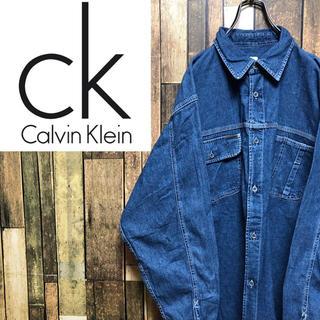 Calvin Klein - 【激レア】カルバンクラインジーンズ☆ロゴタグ入りダブルポケットワークデニムシャツ