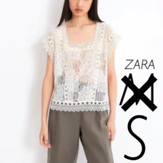 ザラ(ZARA)の【新品・未使用】ザラ レーストップス S(シャツ/ブラウス(半袖/袖なし))