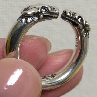クロムハーツ(Chrome Hearts)の原本無修正 クロムハーツ ダブルドッグリング パヴェダイヤ(リング(指輪))