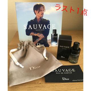クリスチャンディオール(Christian Dior)の新製品 ディオール メンズ 香水 ソヴァージュ  ミニ香水 10ml  巾着付♡(香水(男性用))
