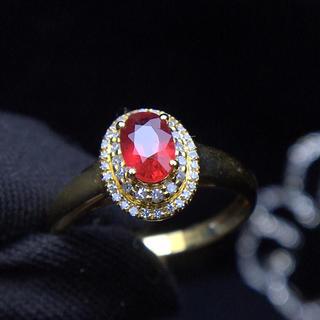 0.6ct レッド サファイア リング 南アフリカ産天然ダイヤモンド付き(リング(指輪))