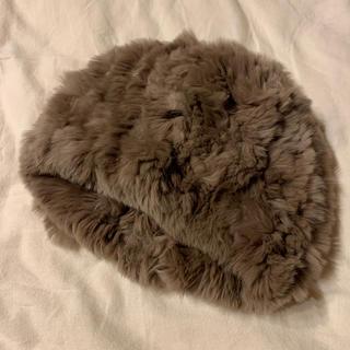 バーニーズニューヨーク(BARNEYS NEW YORK)の美品 バーニーズニューヨーク ラビットファーニット帽(ニット帽/ビーニー)