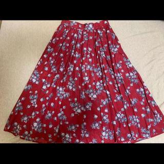 COCO DEAL - ココディール ヴィンテージフラワー 花柄 サテンスカート レッド