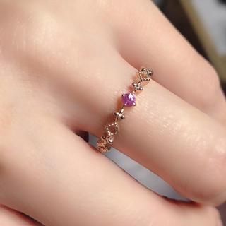 ☆新品繊細トルマリンファッションK10ピンクゴールドリング(リング(指輪))