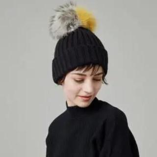 ルシェルブルー(LE CIEL BLEU)のルシェルブルー フォックスファー ニット帽(ニット帽/ビーニー)