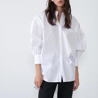 ザラ(ZARA)のZARA ボリュームポプリンシャツ ブラウス ホワイト XS(シャツ/ブラウス(長袖/七分))