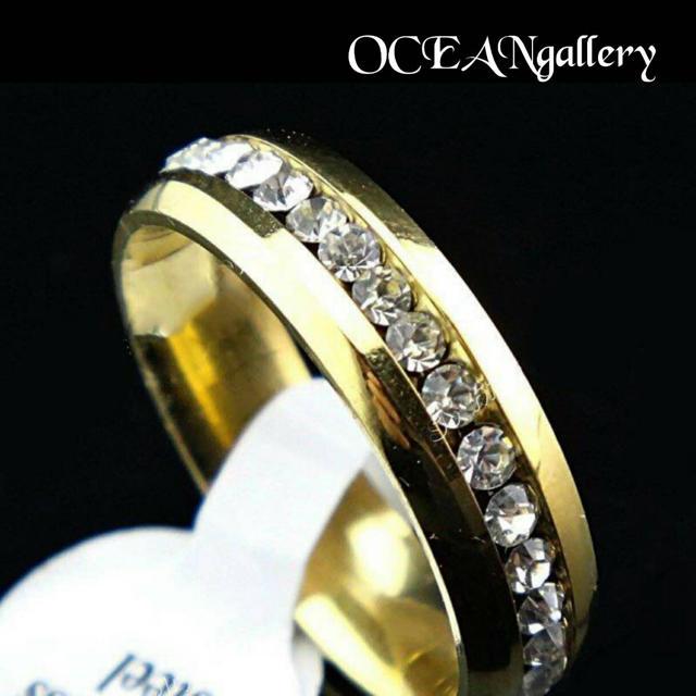送料無料 10号 ゴールドサージカルステンレススーパーCZ フルエタニティリング レディースのアクセサリー(リング(指輪))の商品写真