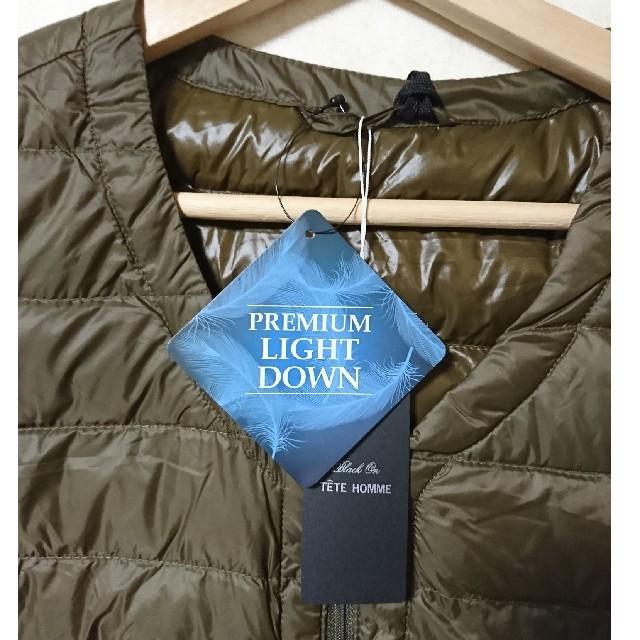 TETE HOMME(テットオム)の新品未使用 TETE HOMME ZIP軽量インナーダウンベストカーキL メンズのジャケット/アウター(ダウンベスト)の商品写真