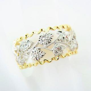 K18/Pt900 ミル打ち ダイヤモンド リング 18.5号[g92-2](リング(指輪))