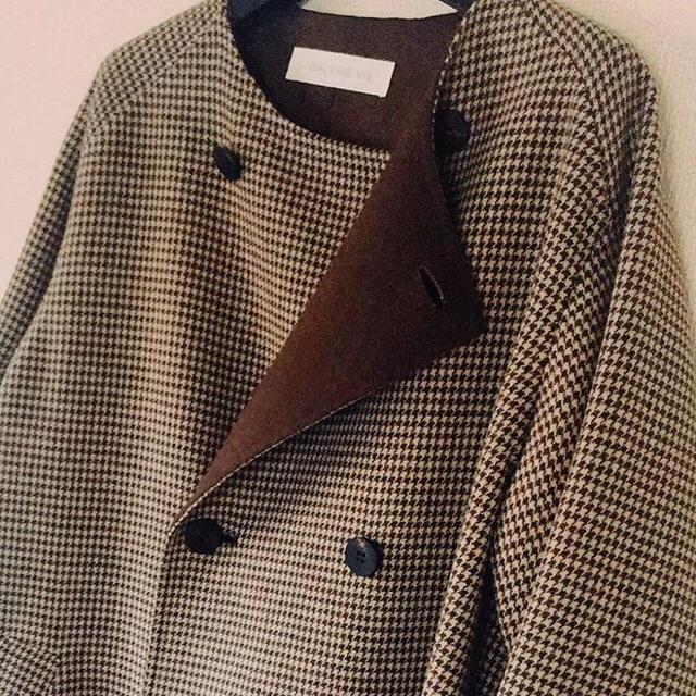 TOMORROWLAND(トゥモローランド)の◎galerie vie ウールダブルフェイス ダブルブレストノーカラーコート◎ レディースのジャケット/アウター(ロングコート)の商品写真