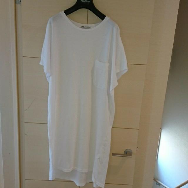 ZARA(ザラ)の新品 ZARA ザラ ロング丈 Tシャツ S 白 レディースのトップス(Tシャツ(半袖/袖なし))の商品写真