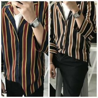 新品 ストライプ柄 マルチカラー しましま シャツ 羽織り 黒 紺 メンズ(シャツ)