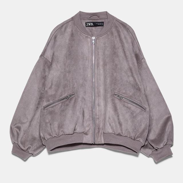 ZARA(ザラ)のZARA ザラ スエードボンバージャケット セメント レディースのジャケット/アウター(ブルゾン)の商品写真
