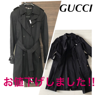 Gucci - GUCCI  ブラック トレンチコートS❣️お値下げしました❣️