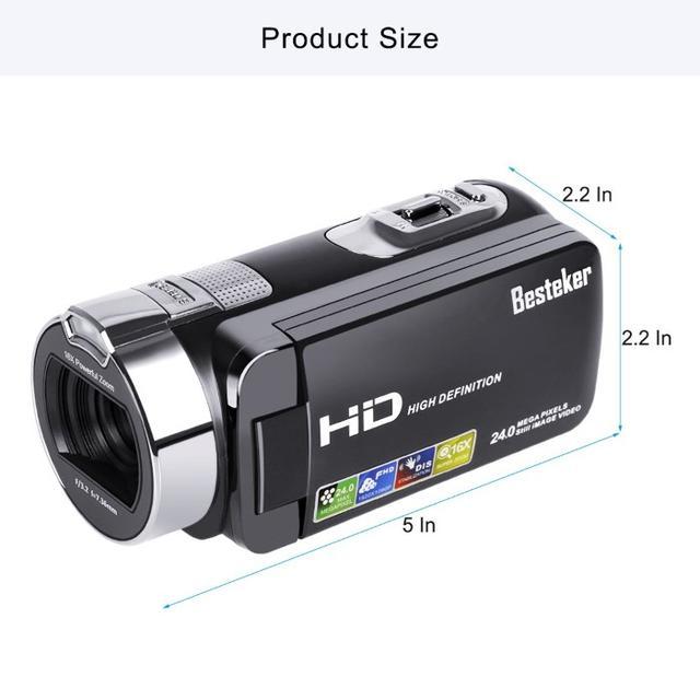 【入手★困難】デジタルビデオカメラ2400万画素 16倍ズーム ブラック スマホ/家電/カメラのカメラ(ビデオカメラ)の商品写真