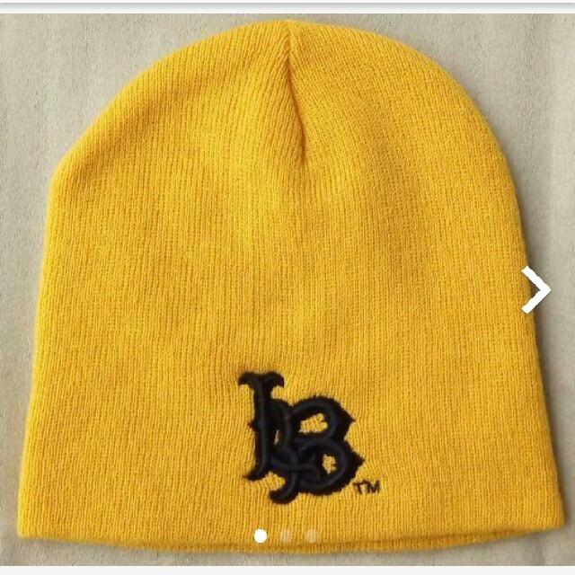 LONG BEACH ビーニー イエロー オフィシャルグッズ メンズの帽子(ニット帽/ビーニー)の商品写真