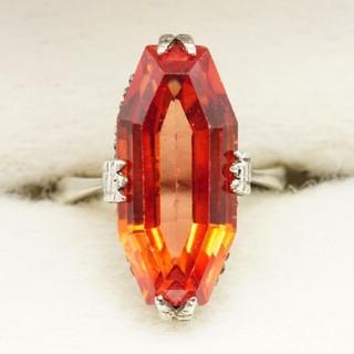 2 オレンジサファイア ヴィンテージ リング アクセサリー SILVER(リング(指輪))