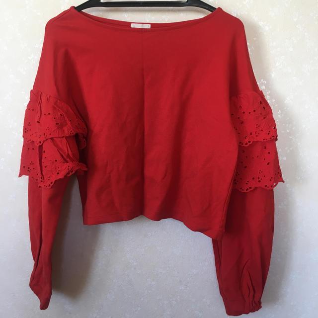 GU(ジーユー)のGU    赤 フリルカットソー レディースのトップス(カットソー(長袖/七分))の商品写真