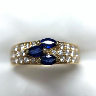 Queen Jewelry K18  サファイア  ダイヤモンド リング(リング(指輪))