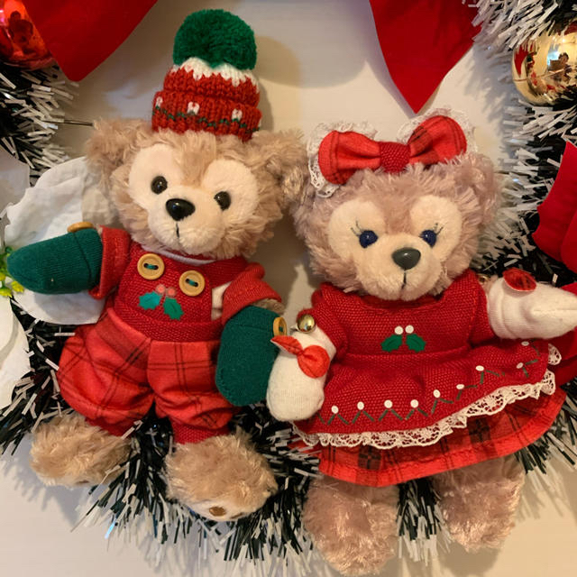 Disney(ディズニー)の☆ダッフィー&シェリーメイ クリスマスリース No.3 ハンドメイドのフラワー/ガーデン(リース)の商品写真