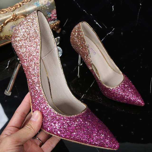 大きサイズあり きらきら ヒールパンプス 結婚式 パンプス パーティ フォーマル レディースの靴/シューズ(ハイヒール/パンプス)の商品写真