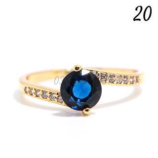 G205 リング 20号 人工石 サファイア イエローゴールド 大きいサイズ(リング(指輪))