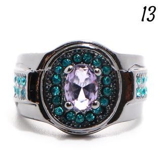 Y4 リング 13号 人工石 アメジスト ブルートパーズ ラウンド(リング(指輪))